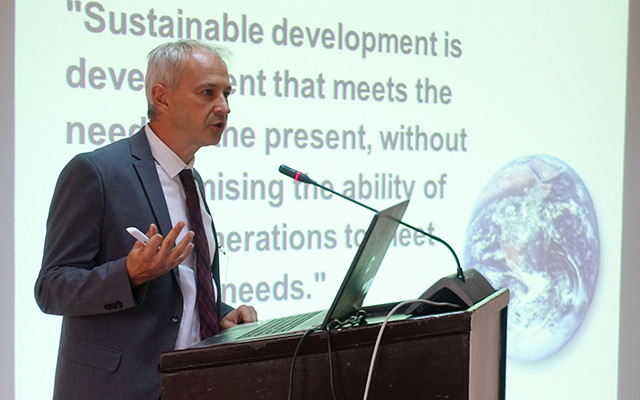 "Max Paoli, programme coordinator at TWAS, spoke at the ""Conference on Climate, Ecosystems and Livelihoods in Africa"""