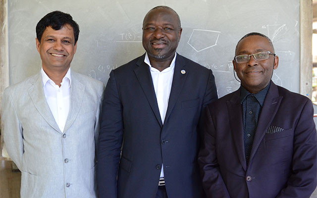 from left: Atish Dabholkar, incoming director of ICTP; Lassina Zerbo, executive director of CTBTO; and Romain Murenzi, executive director of TWAS