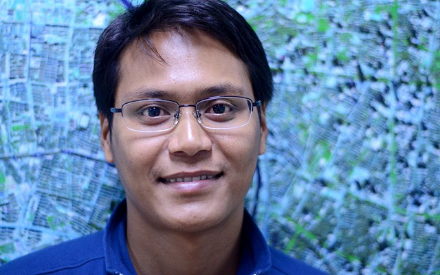 Mrinal Singha of India at the Centre of Excellence on Space Science for Disaster Mitigation