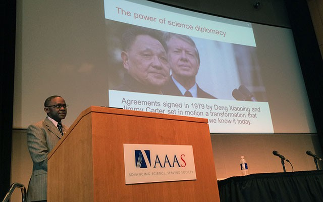 TWAS Executive Director Romain Murenzi discussed the South's perspective on science diplomacy at AAAS. [Photo: AAAS]