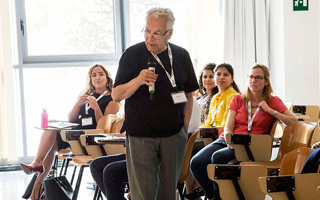 Iranian physicist Yousef Sobouti joined in discussions at the 2017 AAAS-TWAS Summer Course in Science Diplomacy in Trieste, Italy. [Photo: Paola Di Bella]