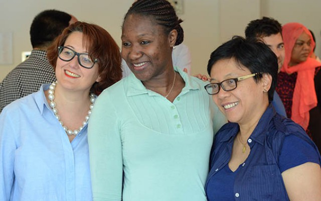 From left are, Marina Giampietro of the Programme for the Study of International Governance in Switzerland, Hannah Ajoge of Ahmadu Bello University in Nigeria and Yayi Suryo Prabandari of Indonesia's Gadjah Mada University.