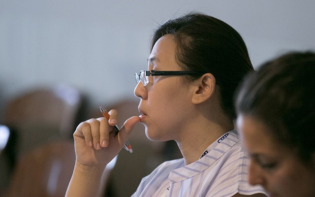 Participant Phawinee Chansamran listens during the course. (Photo: Demis Albertacci)