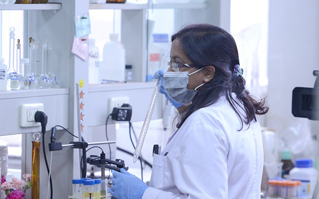 Tista Prashai of Nepal at work in a lab at the Centre of Excellence for Water and Environment.