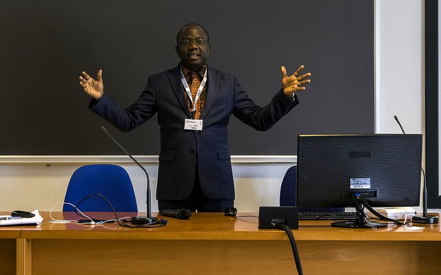 Forest researcher Achille Assogbadjo of Benin discusses how a TWAS grant advanced his career helped forestry research blossom in Benin. (Photo: Paola Di Bella)